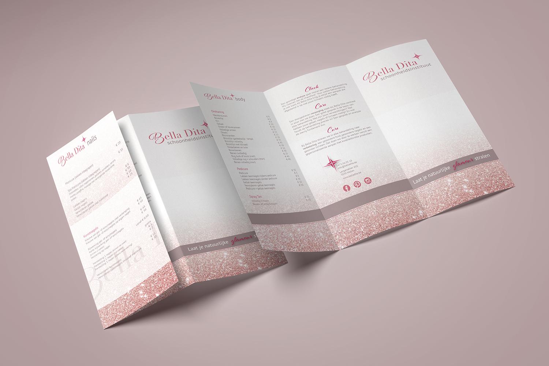 ontwerp prijslijst schoonheidssalon Bella Dita