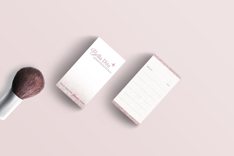 ontwerp afsprakenkaart schoonheidssalon Bella Dita