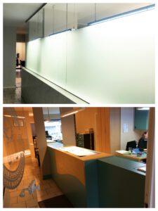 Voor en na foto's van de renovatie van een kantoorruimte, ontworpen door No Nonsense design.
