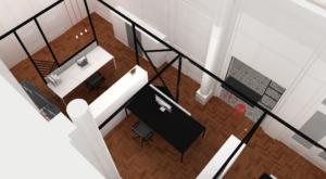 Ontwerp kantoorruimte voor advocatenbureau 'Tweedraads'.